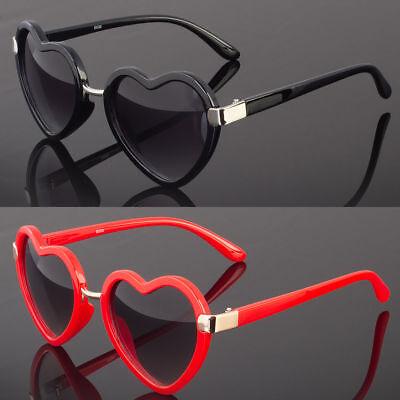 Vintage Retro Fashion Womens Heart Shaped Sunglasses Plastic Frame (Red Plastic Sunglasses)