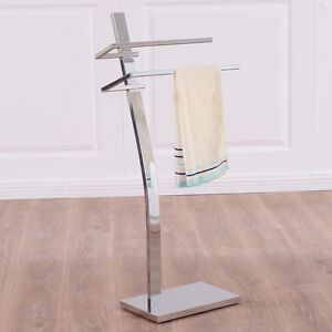 2 Tier Free Standing Floor Towel Holder Contemporary Chromed Steel Bathroom