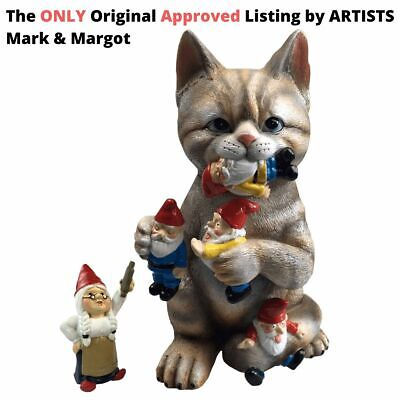 By Mark & Margot - Cat Statue Garden Gnome Massacre Funny Sculpture...