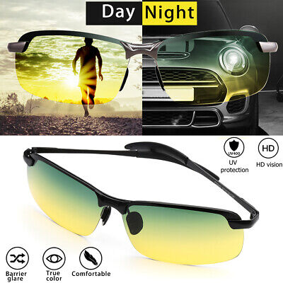 Tac HD Polarized Day & Night Vision glasses Men Driving Pilot Aviator sunglasses ()