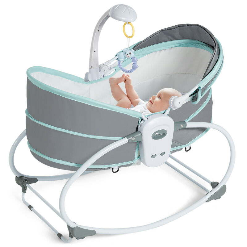5 in 1 Portable Baby Rocking Bassinet Multi-Functional Crib w/ Canopy Music Toys
