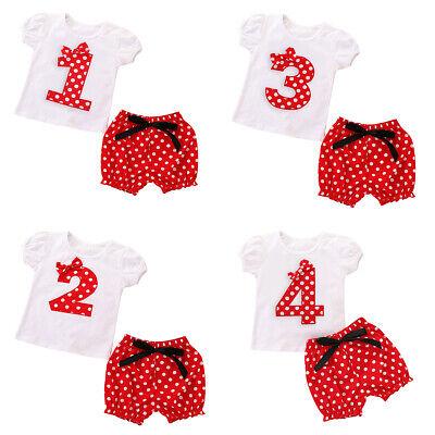 Baby Mädchen Mickey Maus 1. Geburtstag Gepunktet Top mit Hosen Kostüm Outfits