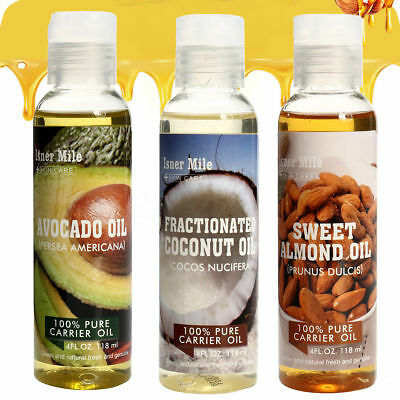 Almond Coconut Oil - 4 PCS Organic Pure Castor Coconut Almond Massage Oil 4oz. Bottle For Relaxation