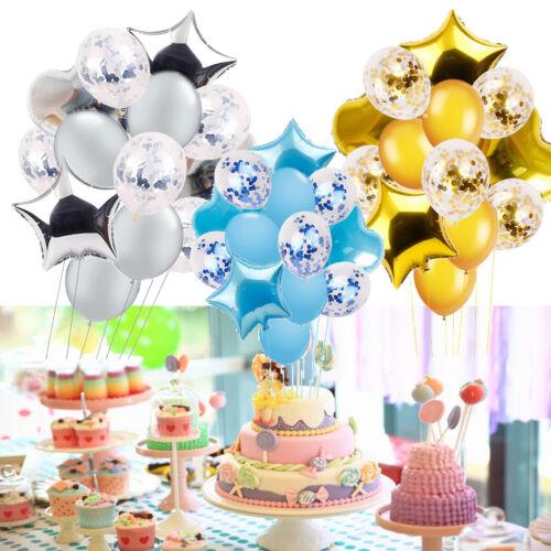 14Pcs 12//18 inch Star Heart Balloons Confetti Foil Birthday Wedding Party Decor