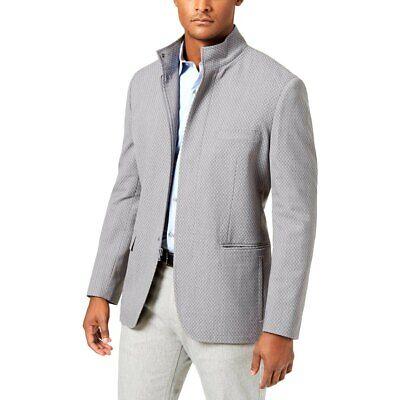 ALFANI Light Gray Chevron Full Zip Sportcoat Jacket **NEW Large Lg -