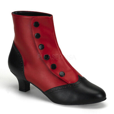 Bordello FLORA-1023 Boots Red-Black Pu Victorian Costume Spat  Ankle Boot Heel