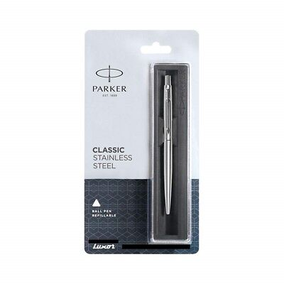 Parker Classic Jotter Stainless Steel Chrome Trim Slim Ball Point Pen Blue Ink