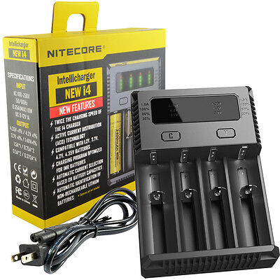 NITECORE New i4 Intellicharger 2016 Li-ion Ni-MH Smart Charger 4 Slot 18650 NiCd
