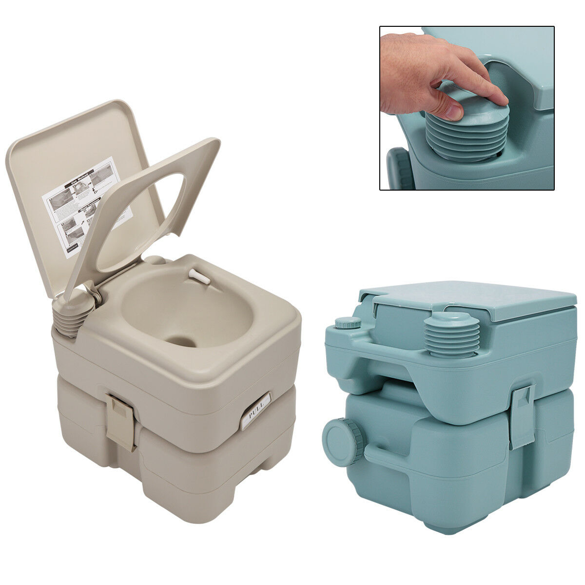 5 Gallon 20L Portable Toilet Flush Travel Camping Commode Po