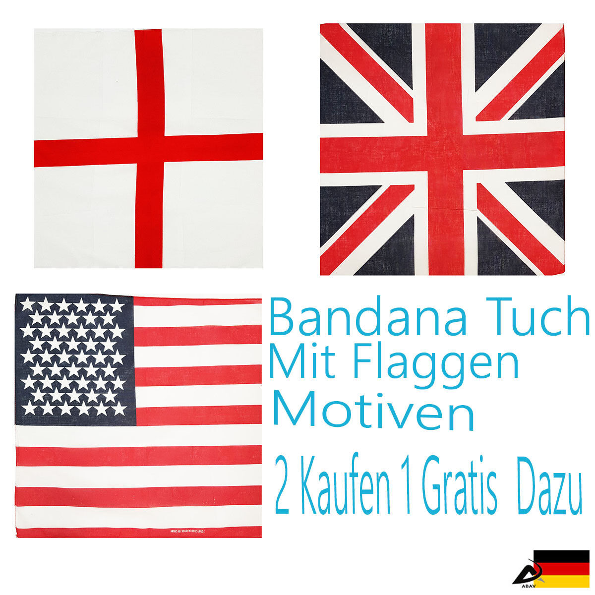 Bandana Flagge Motiven USA, Union Jack, England Handtuch Bikertuch Kopftuch B2