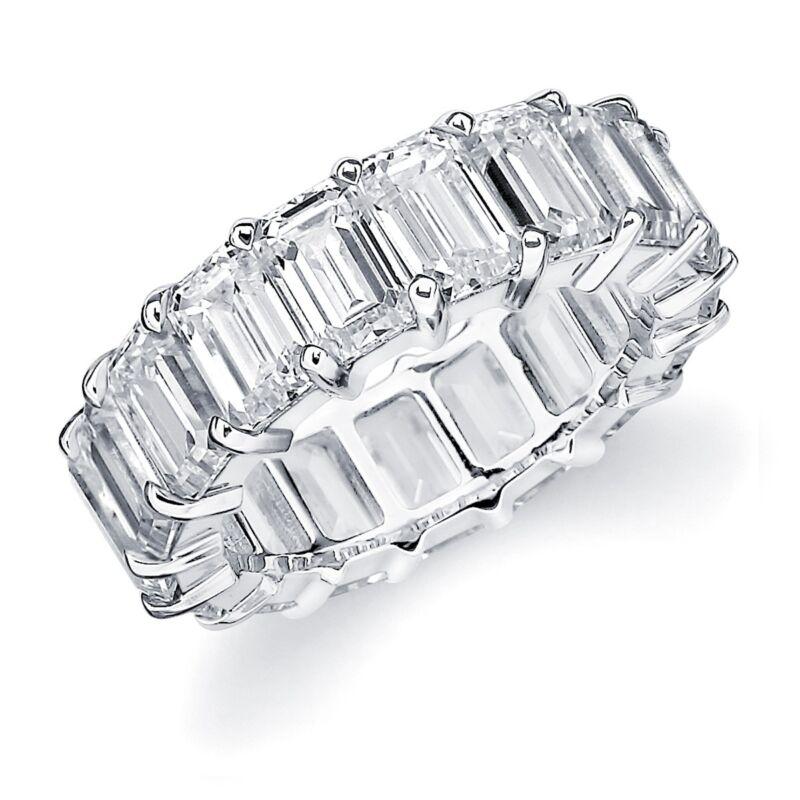 6.60 Carat Platinum Diamond Eternity Band Emerald Cut 20 Stones