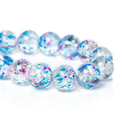 50 Crackle Glas Perlen Klar Blau Rosa Crash Glas 10 mm basteln Neu