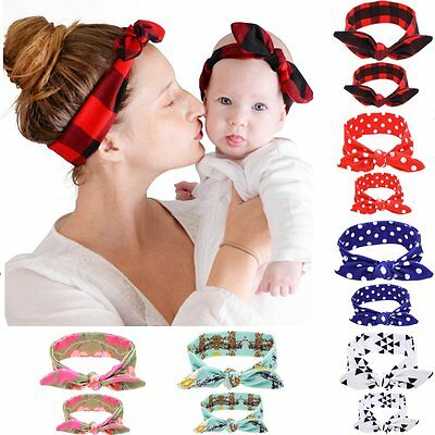 2PCS/Set Mom Mother & Daughter Kids Baby Girl Bow Headband Hair Band Accessories (Headband Set)