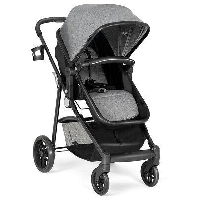 2 In 1 Foldable Baby Stroller Kids Travel Newborn Infant Buggy Pushchair Gray
