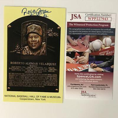 Autographed/Signed ROBERTO ALOMAR HOF Hall Of Fame Plaque Postcard JSA COA Auto