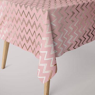 SCHÖNER LEBEN. Tischdecke Chevron rosa goldfarbig eckig in verschiedenen Größen (Chevron Tisch Decken)