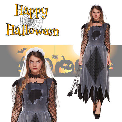 Womens Zombie Corpse Bride Halloween Walking Dead Costume Veil Fancy Dress Anime ()