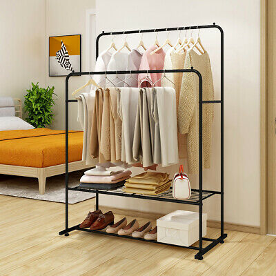 Clothes Garment Rack Metal With Rod And Storage Shelf Heavy Duty Black Brown
