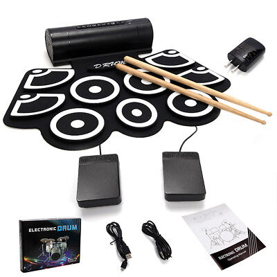Electronic Roll Up Drum Set USB MIDI w/Built-in Speakers Foot Pedals Drum Sticks