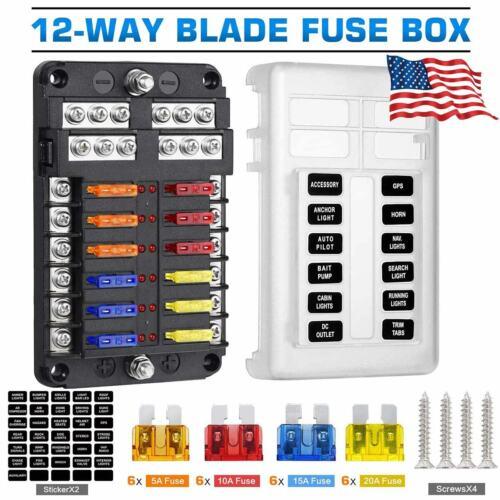 12-Way Blade Fuse Box Block Holder with Box LED Indicator Auto Marine 12V 32V US