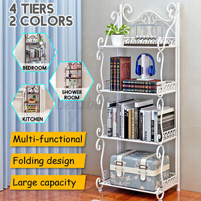 4 Tiers Iron Kitchen Bakers Rack Storage Hanging Bar Workstation Stand Folding