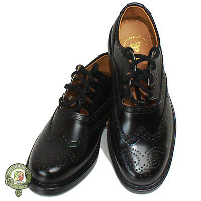 Ghillie Brogues Black Leather Ghillie Brogues Scottish Kilt Shoes UK Sizes 6-12
