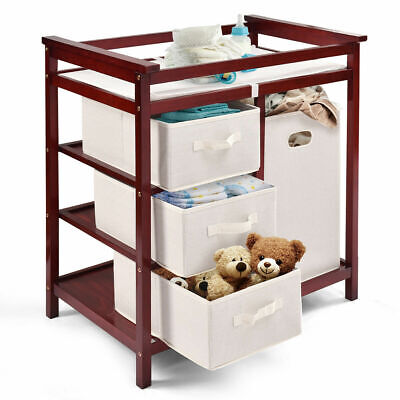 Cherry Baby Changing Table - Cherry Infant Baby Changing Table w/3 Basket Hamper Diaper Storage Nursery New