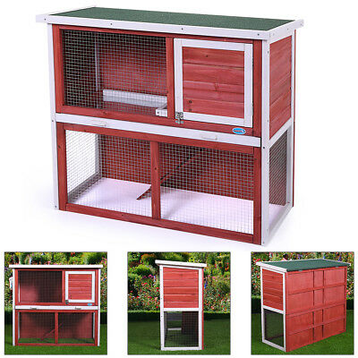 """Wooden Chicken Coop Hen House 36"""" Rabbit Wood Hutch Poultry Cage Habitat Red"""