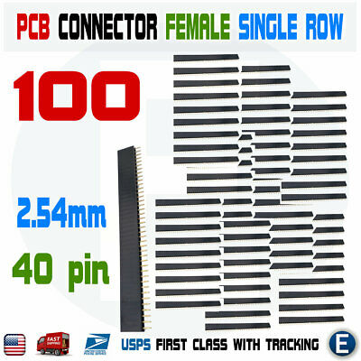 100pcs 2.54mm 40 Pin Straight Female Single Row Pin Header Strip Pcb Connector