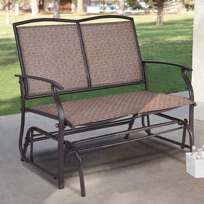 Patio Glider Rocking Bench Double 2 Person Chair Loveseat Armchair Backyard New