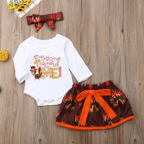 USA 3PCS Baby Girls First Thanksgiving Turkey Tops Romper Tu