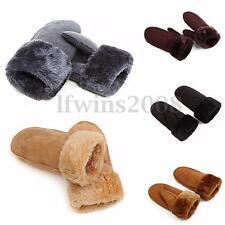 Gants Hiver Cuir Fourrure Faux Epais Moufles Mitaines Doux Chaud Cadeau Femme