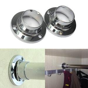 2pcs 25mm wardrobe rail rod socket end support bracket. Black Bedroom Furniture Sets. Home Design Ideas