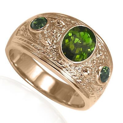 (Etruscan Byzantine Style Green Tourmaline Men's Three-Stone Ring 14k Rose Gold )