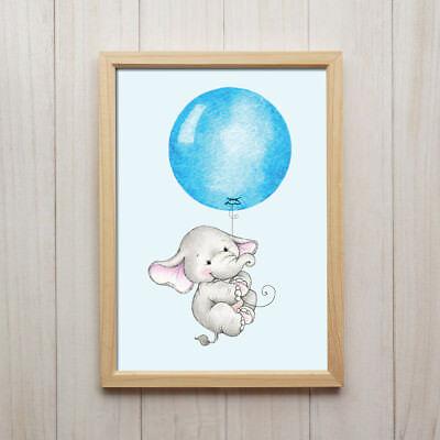 it Ballon Blau Kunstdruck DIN A4 Bild Kinderzimmer Tier Deko (Blaues Baby-elefant)