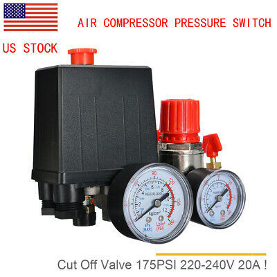 Air Compressor Pressure Switch Control Valve Manifold Regulator Wgauges Relief