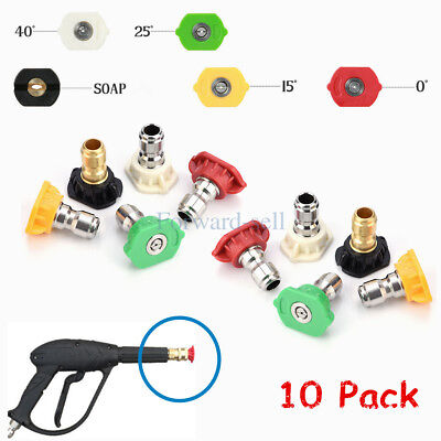 10pcs High Pressure Washer Spray Nozzle Tips Quick Connect Variety Degree 14