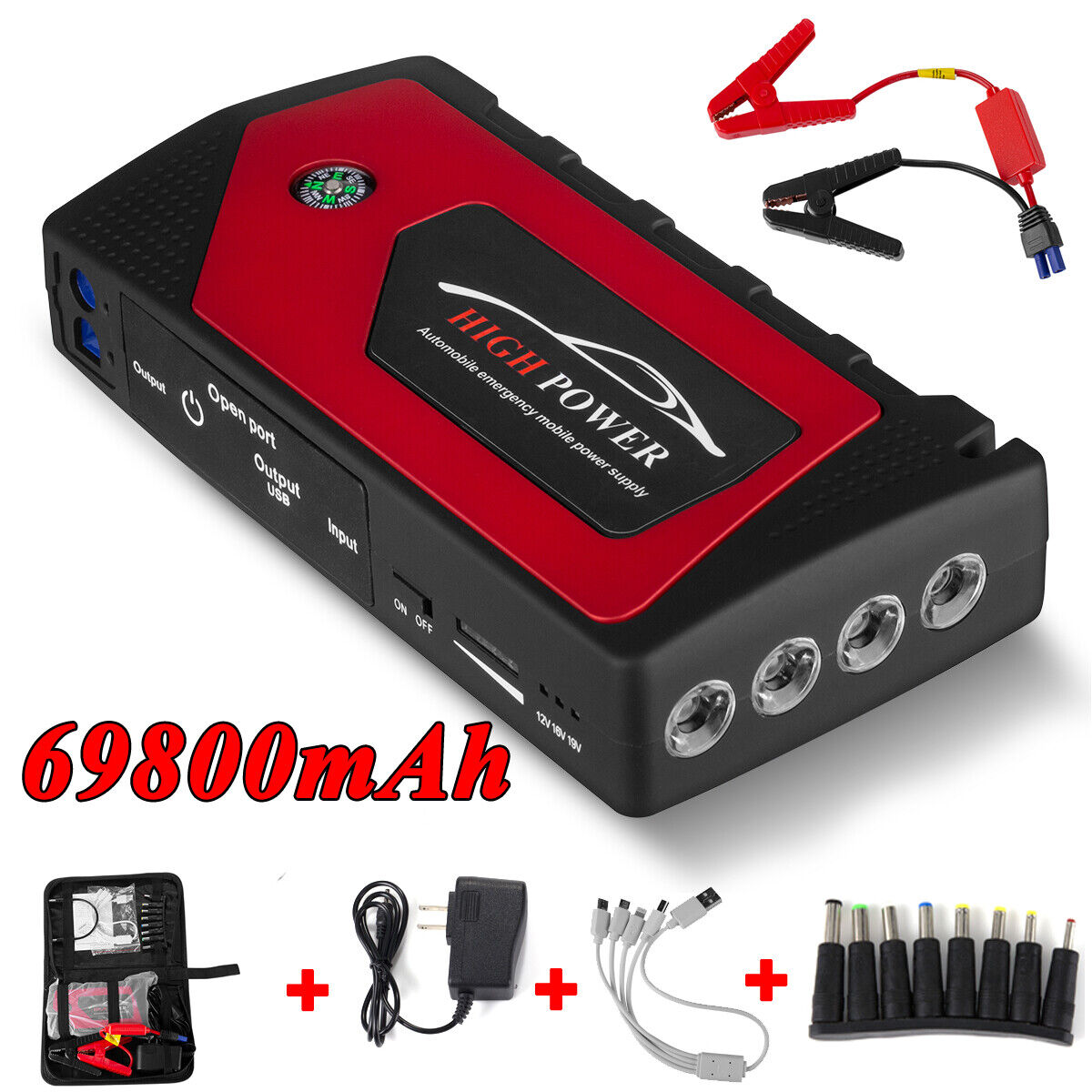 Car Jump Starter, 69800mAh USB Power Bank LED Flashlight 12V Battery Charger USA