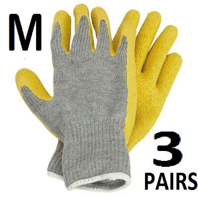 Latex Coated Work Gloves Medium 3 Pairs