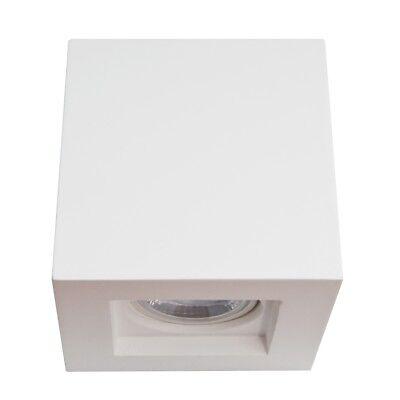 Porta Lampada Faretto da Soffitto Cubo in Gesso Bianco Verniciabile 10x10 cm