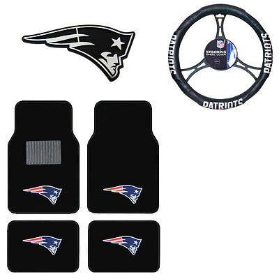 New NFL New England Patriots Car Truck Floor Mats Steering Wheel Cover & -