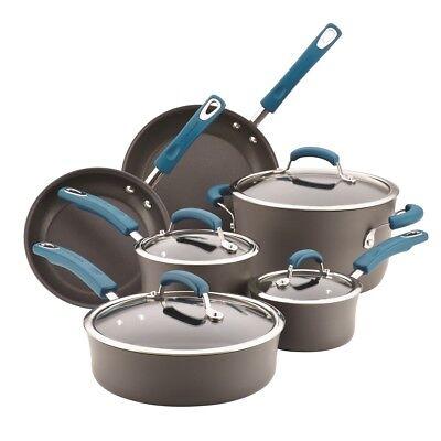 Blue 10 Piece Cookware Set - Rachael Ray 10 Piece Hard-Anodized Nonstick Cookware Set, Marine Blue & Grey