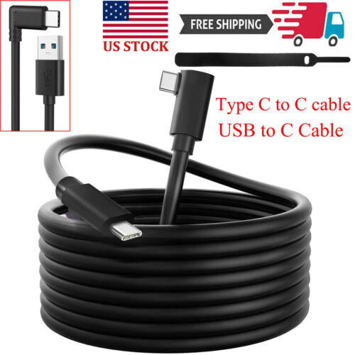 16 10 ft Link Cable for Oculus Quest 2 Type-C Right Angle to USB A Charging Cord