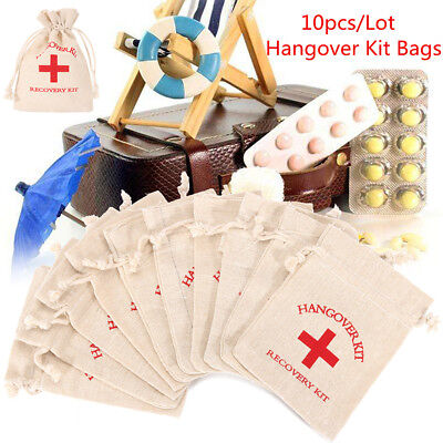 10x Wedding Favor Hangover Recovery Kit Cotton Linen First Aid Bag Party Supply
