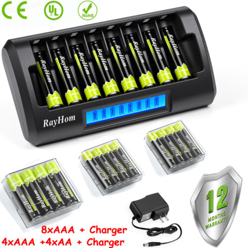 8pcs AA AAA Rechargeable Batteries NiMH 1.2V with AA/AAA Battery LCD Charger Kit