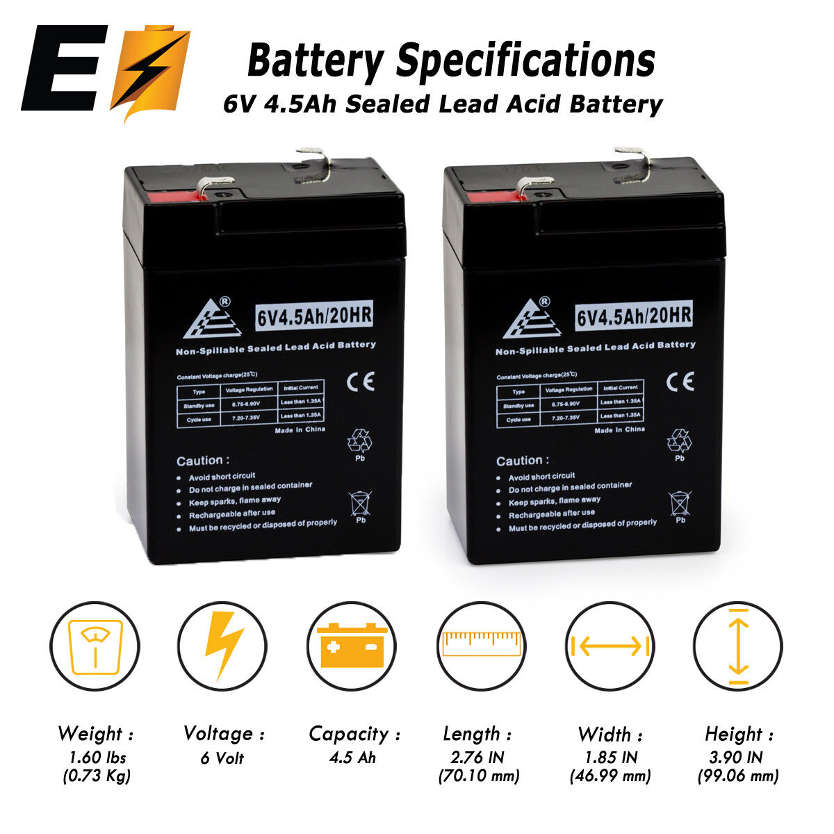 UPG Replacement 2 Pack - BATTERY 6V 6 VOLT SLA VRLA RECHARGE