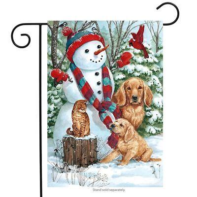 """Snow Day Friends Winter Garden Flag Dogs Cat Cardinal 12.5"""""""