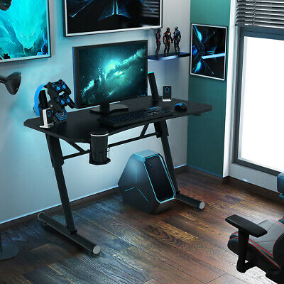 25-33 Office Racing Gaming Table Wcup Holder Led Light Height Adjustable Desk