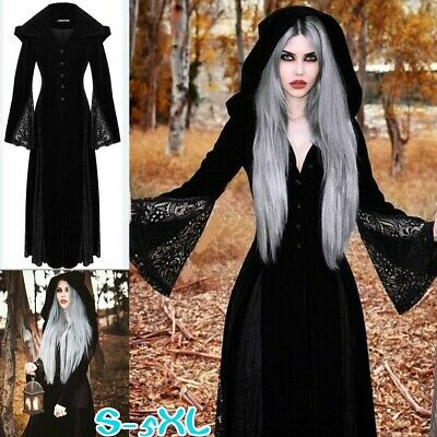 Halloween Witch Dress Design Womens Retro Cosplay Costume Hooded Dresses Maxi
