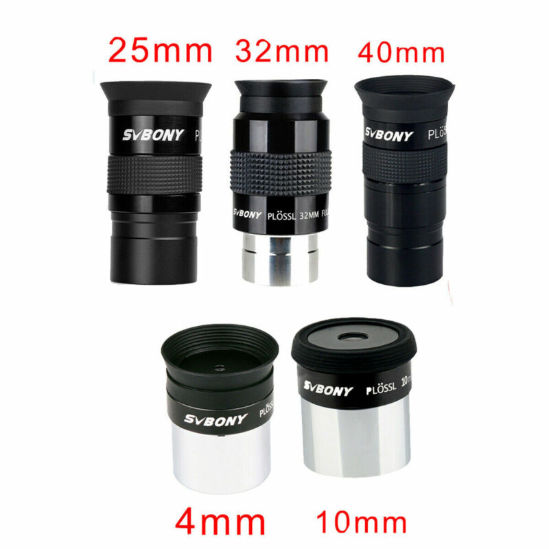 "SVBONY 1.25"" Telescope Eyepieces Plossl 4/10/25/32/40mm Lens Kit FMC Full Metal"